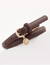 Fashion Coffee Faux Leather-studded Thin Belt
