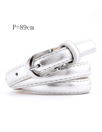 Fashion Silver 89cm Alloy Square Buckle Thin Belt