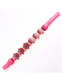 Fashion Rose Red Flower Thin Belt