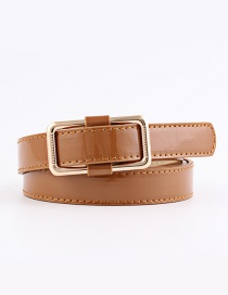 Fashion Camel Flat Needleless Smooth Buckle Wide Belt
