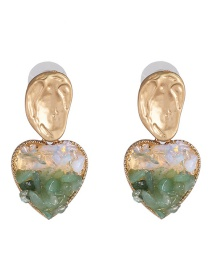 Fashion Green Natural Stone Alloy Love Earrings