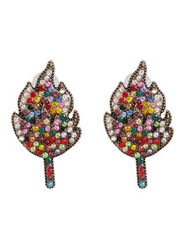 Fashion Color Leaf Stud Earrings