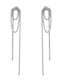 Fashion Silver Claw Chain Studded Tassel Earrings