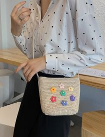 Fashion Khaki Sun Flower Straw Shoulder Bag