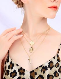 Fashion Gold Geometric Coin Cross Multilayer Necklace
