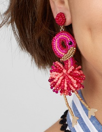 Fashion Rose Red Woven Flamingo Mi Bead Earrings