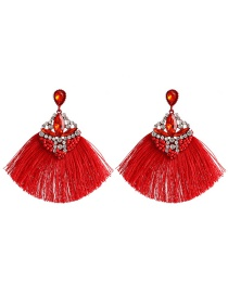 Fashion Red Geometric Hollow Diamond Beads Tassel Earrings