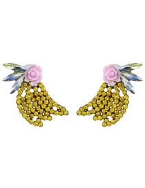 Fashion Yellow Diamond Flower Earrings