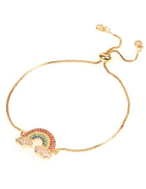 Fashion Gold Micro-inlaid Diamond Zircon Rainbow Drawn Fine Bracelet