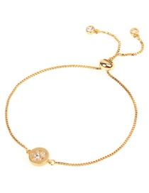 Fashion Gold Micro-inlaid Zircon Turtle Copper Bead Adjustable Bracelet