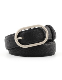 Fashion Black Flat Elliptical Geometric Thin Belt