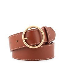 Fashion Camel-gold Buckle Round Buckle Wide Belt