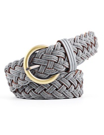Fashion Gray Imported Leather Woven Braided Knotted Belt