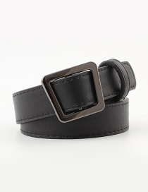 Fashion Black Irregular Geometric Trapezoidal Buckle Head Punch-free Belt