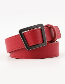 Fashion Dark Red Irregular Geometric Trapezoidal Buckle Head Punch-free Belt