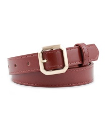 Fashion Red Brown Square Buckle Belt