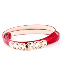 Fashion Red Buttoned Heart-shaped Diamond Buckle Buckle Adjustment Belt