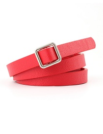 Fashion Red Needle-free Square Buckle Knotted Strap Double-sided Thin Belt