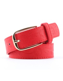 Fashion Red Pu Pin Buckle Printed Wide Belt