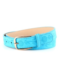Fashion Lake Blue Pu Pin Buckle Printed Wide Belt
