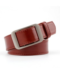 Fashion Red-brown Alloy Buckle Pu Belt