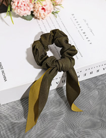 Fashion Green Streamer Two-tone Ribbon Two-color Bow Hair Ring
