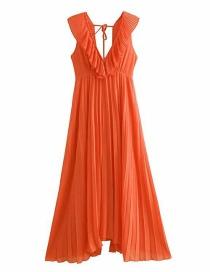 Fashion Orange Small Pleated Ruffled Dress