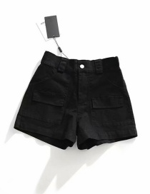 Fashion Black Washed Elastic Waist Elastic Tooling Shorts