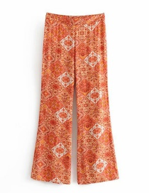 Fashion Orange Kaleidoscope Printed Flared Pants