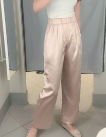 Fashion Pink Elasticated Wide-leg Pants