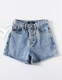 Fashion Blue Washed Multi-button A High Waist Denim Shorts