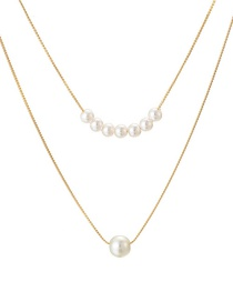 Fashion Gold Knotted Chain Size Pearl Double Layer Alloy Necklace