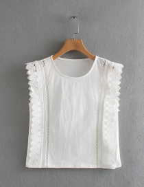 Fashion White Lace Stitching Short Shirt