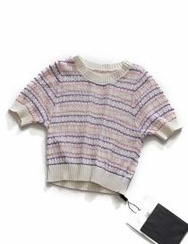 Fashion Pink Purple Jacquard Openwork Knit Short-sleeved T-shirt