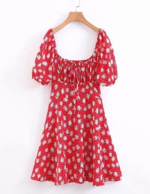 Fashion Red Floral Print Lace Dress