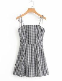 Fashion Black And White Plaid Printed Halter Open Back Dress