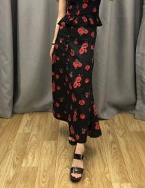 Fashion Black Rose Printed Single-breasted Skirt