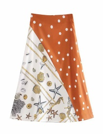 Fashion Brown Polka Dot Stitching Shell Print A Version Skirt