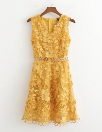 Fashion Yellow Hollow Tassel Sling V-neck Dress