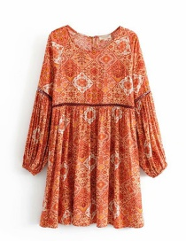 Fashion Brick Red Floral Print Openwork Flare Sleeve Dress