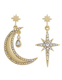 Fashion Gold Earrings 925 Silver Needle Alloy Diamond Star And Moon Asymmetrical Earrings