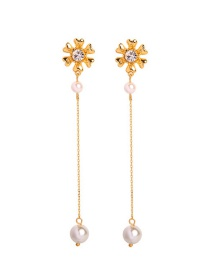 Fashion Gold S925 Silver Needle Flower Pearl Earrings