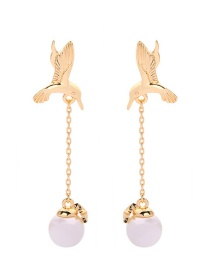 Fashion Gold Bird Pearl Earrings