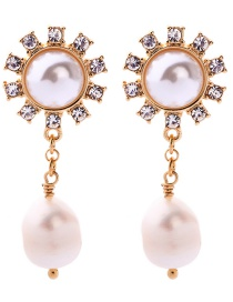 Fashion Gold S925 Silver Needle Flower With Diamond Stud Earrings