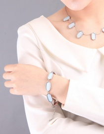 Fashion Blue Geometric Acrylic Plate Inlaid Bracelet