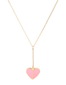 Fashion Pink Heart Drop Necklace
