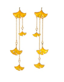 Fashion Yellow Drip Leaf Earrings