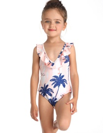 Fashion White Print V Collar Small Flying Side Children's One-piece Swimsuit