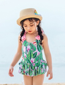 Fashion Green Plant Print Children's One-piece Swimsuit To Send Swimming Cap