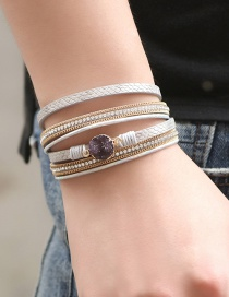 Fashion Gold Multi-layer Leather-studded Gravel Magnetic Buckle Wrapped Bracelet